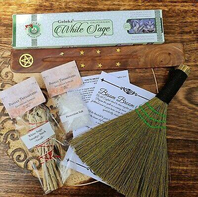 COMPLETE SMUDGING CLEANSING PACK KIT Black White Sage Incense Burner Besom Wicca