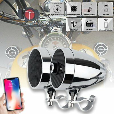 Bluetooth MP3 Music Player Motorcycle Handlebar Audio Speaker Radio Stereo #3
