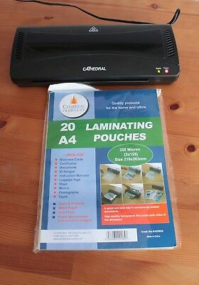 Cathedral LMA4 A4 Laminator + FREE Pack of 18 Laminating Pouches