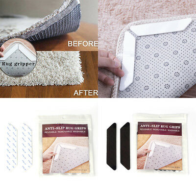 8 Pcs Rug Mat Slip Non Gripper Carpet Grip Safety Reusable Washable Grippers