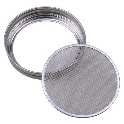 Sprouting Strainer Lid for Wide Mouth Mason Canning Jar Stainless Steel Silver