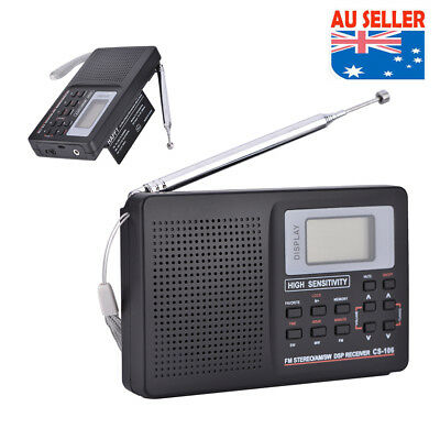 Mini Radio Pocket Receiver Portable FM/AM 2 Band Digital LCD Stereo Earphone AU