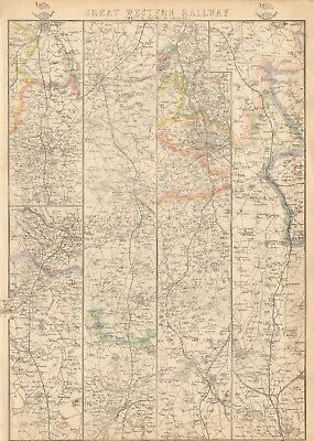 1863  Large Antique Map - Dispatch Atlas- Great Western Railway, Oxford, Chester