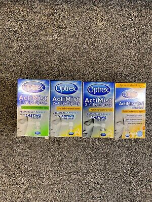 Job Lot 4 x OPTREX ACTIMIST 2IN1 EYE SPRAY 10ML for Itchy + Watery Eyes