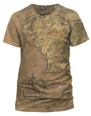 Lord Of The Rings 'Middle Earth Map' (Dye Sub) T-Shirt - NEW & OFFICIAL!