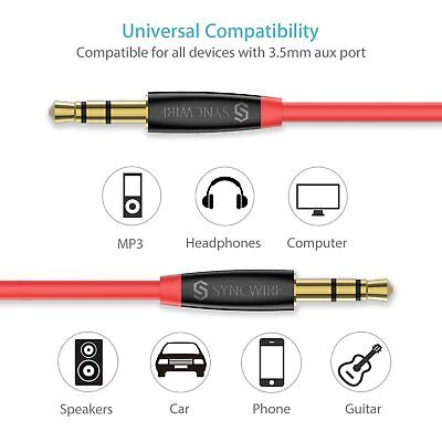 Syncwire 3.5mm Aux Cable Stereo Jack Cable for Headphones Car/Home Stereos Apple
