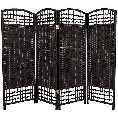 ORIENTAL FURNITURE 4 ft Tall Fiber Weave Room Divider Black 4