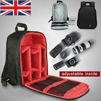 SLR DSLR Lens Backpack Camera Bag Carry Case Fit Nikon Canon EOS Sony Olympus UK
