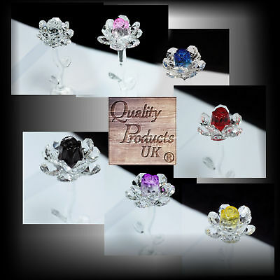 Star Crystal Roses Flower 140mm Choice Of Colour Cut Glass Gift Boxed Rose