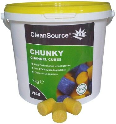 BEST VALUE - QTY: 2 x 3kg TUBS OF YELLOW CHANNEL CUBES 3 IN 1 URINAL BLOCKS