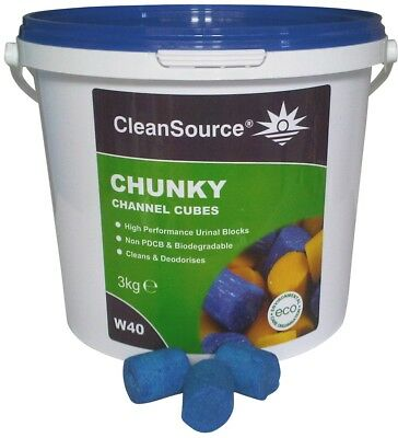 BEST VALUE - QTY: 16 x 3kg TUBS OF BLUE CHANNEL CUBES 3 IN 1 URINAL BLOCKS