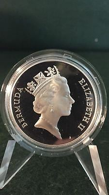 1987 Bermuda Sterling Silver Proof $1 Commercial Flight Commemorative Crown G