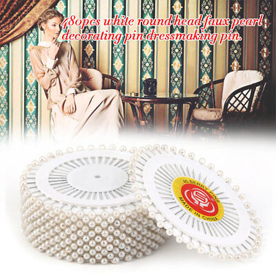 Practical 480Pcs/set White Dressmaking Sewing Pin Straight Pins Round Head 2F