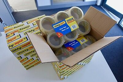 72 rolls strong CLEAR parcel box sealing STIKKY TAPE 48mm x 66m - 1 DAY DELIVERY