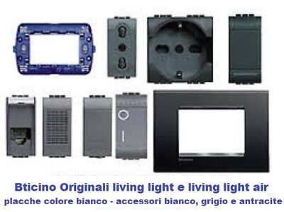 Prese Pulsanti Interruttori Antracite Shuko Bticino Originali Living Light  Air