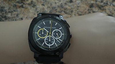 3fcde1f4c952 MICHAEL KORS ORIGINAL MK8554 Men s Bax Black IP And Silicone Watch ...