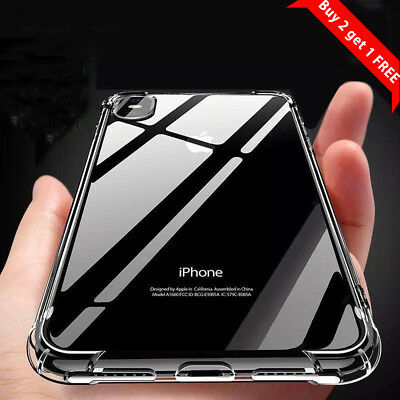 For iPhone 7 Plus 7 8 XR XS Case Clear Transparent Shockproof Hard PC Back Cover