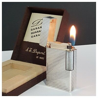 Briquet gaz * St Dupont Paris + box & doc * diamant-Lighter-Feuerzeug-Accendino