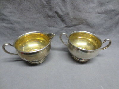 Frank M Whiting Co. Gold Wash Sterling Silver Creamer & Sugar