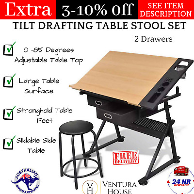 Tilt Art Drawing Drafting Table with 2 Drawers and Stool Adjustable Board Desk
