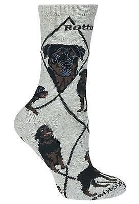 Rottweiler on Gray Ultra Lightweight Cotton Crew Socks One Size Fits Most Made