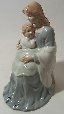 Religous Figurine Seated Mother Mary with Baby Jesus Madonna and Baby Jesus