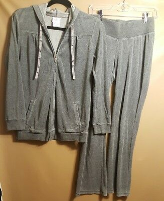 Oh Baby by Motherhood womens SZ S maternity 2 pc track suit jacket/pants Grey