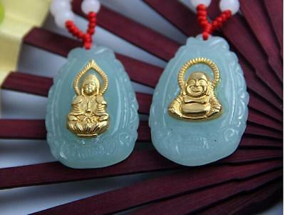 Chinese beautiful jade hand-carved Lucky Jade pendant bring peace The Buddha