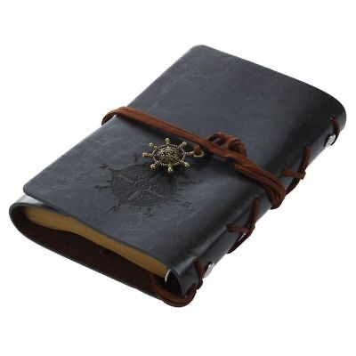 Retro Vintage Leather Bound Blank Pages Journal Diary Notepad Notebook (Bla G2D0