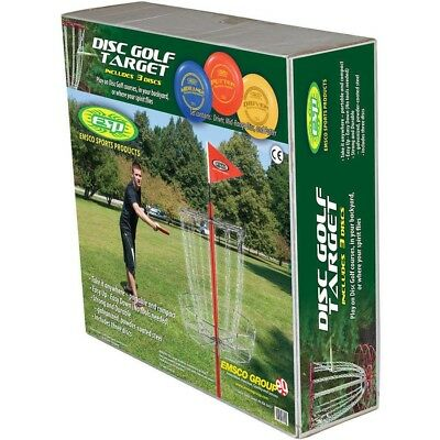 Disc Golf Target Goal With 3 Discs Set Flying Throw Frisbee Golfing Outdoor Game