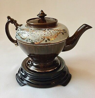 Antique Victorian Gaudy Imari Style Coco Brown White Gold Rim Teapot on Trivet.