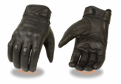 Cruiser Leather Motorcycle Motorbike Gloves CowHide  Summer Knuckle Shell