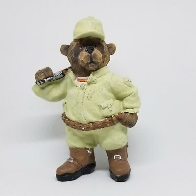"""Hunting Bear Figurine w/Rifle & Duck 5 1/2"""" Tall 3 1/2"""" Wide Collectible Statue"""