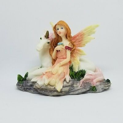"""Pink Fairy with Pink Unicorn 3 1/2"""" Tall 5"""" Wide Collectible Statue"""