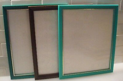 Vintage Trio of Plastic Wall or Desk Picture Frames - Brown & Green w/ Gold!!
