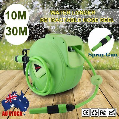 10M 30M PLANT CRAFT Retractable Garden Wall Mount Auto Hose Reel + Spray Gun AU