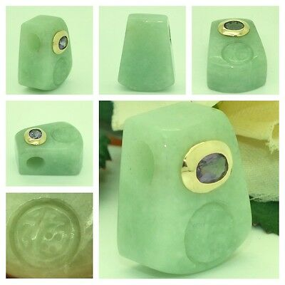 Jade 14kt Yellow Gold & Amethyst Hand Carved Chinese Symbol Block Pendant