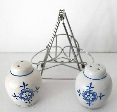 Set Of Salt & Pepper Shakers From Denmark Blue Floral Designs & Metal Holder