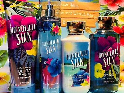 Bath & Body Works 4 Piece Set * HONOLULU SUN *  SPRAY, 2 LOTIONS & SHOWER GEL
