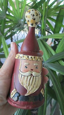 """Unique Carved Wood Santa Hand Painted Christmas Bell Rare Claus Wooden 6"""""""