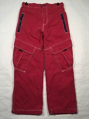 Mini Boden Lined Cargo Pants Adjustible Size 11Y GUC Red Navy Utility Kids Boys