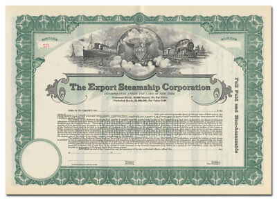 Export Steamship Corporation Stock Certificate (Beautiful Vignette!)