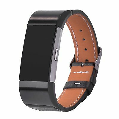 Genuine Leather Wristband Band Strap Bracelet For Fitbit charge 2 Replacement