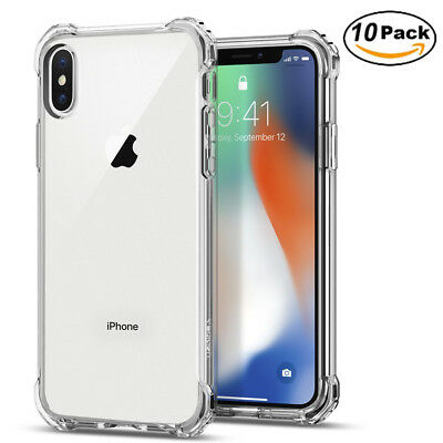 10x For iPhone X Clear Case Shockproof Protective Soft TPU Bumper Back Cover Lot