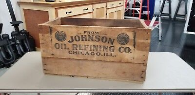 Antique Johnson Oil Refinery Motor Oil Can Wood Crate Vintage Gas Station Auto