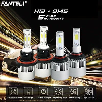 H13 9008 CREE LED Headlight+9145 9140 Fog Lights Combo for 2004-2014 Ford F-150