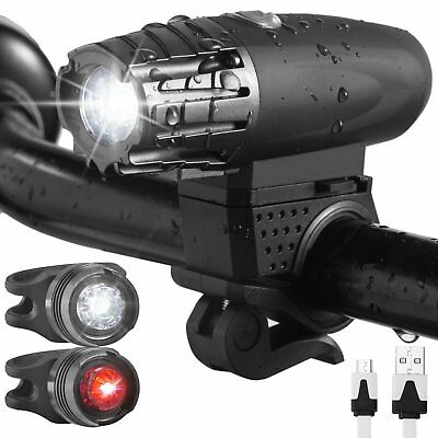 USB Rechargeable LED Bicycle Bright Bike Front Headlight Rear Tail Lamp Set US K