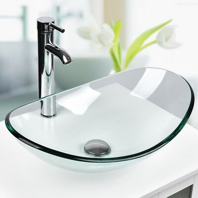 Oval Bathroom Tempered Clear Glass Vessel Sink Bath Bowl W/ Faucet Drain Combo
