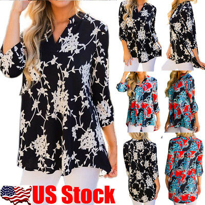 Womens Boho V Neck 3/4 Sleeve Floral Printed T Shirt Loose Casual Blouse Tops US