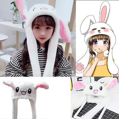 Tik Tok DouYin Cute Plush Rabbit Pinching Bunny Ear Hat Can Move Airbag Cap Gift